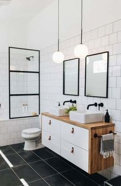 Our bathroom addition reveal + tips on choosing a builder — Mountainside Home black white brown bathroom I fekete-fehér-barna fürdő Brown Bathroom, Modern Bathroom, Black Bathroom Floor, Black White Bathrooms, Minimal Bathroom, Tiny Bathrooms, Bad Inspiration, Bathroom Inspiration, Bathroom Renos
