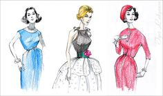 Imitation of vintage fashion illustrations