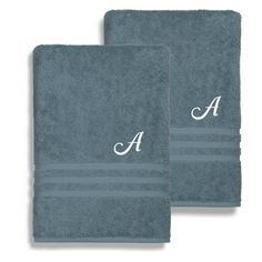Linum Home Textiles Denzi Cotton Bath Sheets - Set of 2 Denzi Blue - DNZ40-2BS-LF-00-B