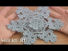Crochet 3d Flower in Center Snowflake Урок 22 часть 2 из 2 Снежинка вязаная крючком - YouTube