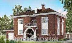 180-006-Л Проект двухэтажного дома, гараж, просторный дом из кирпича
