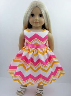 Pink White and Golden Orange Chevron Doll Dress for the American Girl Doll from The Whimsical Doll 2
