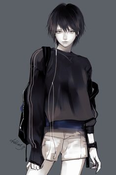 Short by tknk on DeviantArt - Modern Anime Boy Hair, Anime Girl Short Hair, Cool Anime Girl, Anime Art Girl, Anime Guys, Short Hair Tomboy, Manga Girl, Manga Anime, Anime Demon
