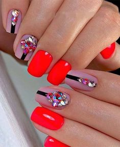 Charming Look of Red Nail Designs to Copy Now Square Nail Designs, Red Nail Designs, Short Nail Designs, Short Nail Manicure, Manicure And Pedicure, Short Nails, Square Acrylic Nails, Square Nails, Romantic Nails