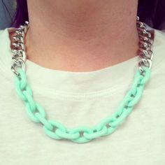 Silver chain necklace with just a hint of mint, via Etsy.