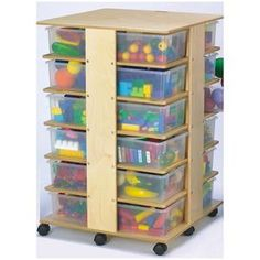 """24 Cubbie Tower with Clear Tubs - 24 Cubbie Tower. It's like a huge closet on wheels! Store 24 tubs in this caster-mounted tower. 27"""" x 27"""" x 40"""". 24 clear tubs included."""