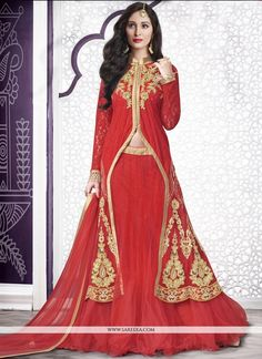 Its a master piece in its class glorifying your timeless beauty. This red net a line lehenga choli is adding the gorgeous glamorous showing the sense of cute and graceful. The embroidered, resham and ...