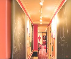 Best Ideas for Displaying Children's Artwork: Chalkboard walls in the hallway - would you dare?!