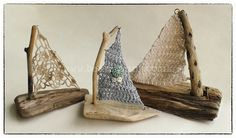 Crochet Sail Driftwood Boat Small Handmade from locally collected driftwood and crochet from 100% cotton. #Nautical #Anchor #Beach #Home #Interiors #Lace