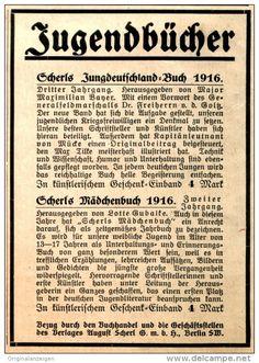 Original-Werbung/ Anzeige 1916 - JUGENDBÜCHER - VERLAG AUGUST SCHERL BERLIN - ca. 90 x 120 mm