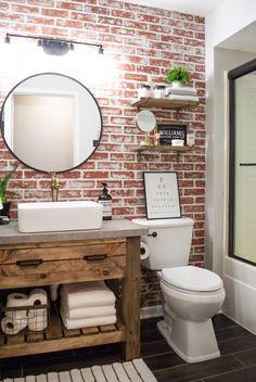 DIY Faux Brick Wall Accent brick bathroom wall Achieve this loo… – Home Decor On a Budget Bathroom Brick Bathroom, Bathroom Renos, Diy Bathroom Decor, Diy Home Decor, Accent Wall In Bathroom, Master Bathroom, Small Bathroom, Bathroom Cabinets, Bathroom Wall Ideas