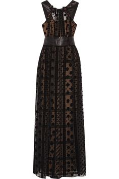 Shop on-sale Marchesa Notte Bead-embellished velvet-trimmed tulle gown.  Browse