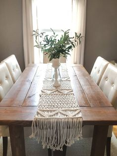 Macrame Wedding Runner Wedding Macrame Table Runner Rustic Etsy You are in the right place for moder Bohemian Living, Macrame Design, Macrame Art, Macrame Knots, Etsy Macrame, Macrame Mirror, Rustic Kitchen Decor, Rustic Table, Macrame Tutorial
