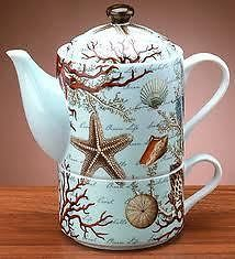 Luxurious Porcelain Tea for One Teapot & Mug Set...seashell