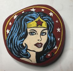 Wonder Woman painted rock -by Kerry Cool Photos, Face Art, Disney Characters, Carving, Painting, Woman Painting, Art, Character, Painted Rocks