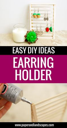 Make your own wooden earring holder - Easy DIY ideas and tutorials by Paper and Landscapes