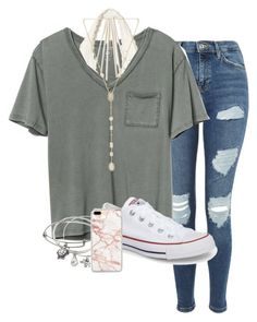 """Untitled #214"" by sophiavarrrr ❤ liked on Polyvore featuring Gap, Hollister Co., Topshop, Converse, Alex and Ani and Kendra Scott"