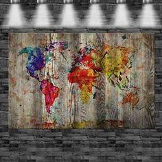 XXL Weltkarte auf Holz gemalt 160x105cm auf Leinwand Keilrahmen Loft Welt Karte