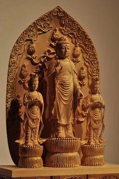 仏像彫刻原田謹刻 一光三尊阿弥陀如来像 【善光寺式阿弥陀三尊】…