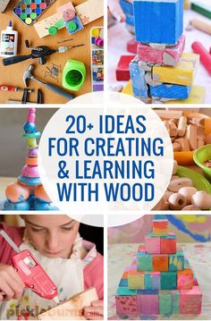 20 Ideas for Creating and Learning with Wood I never think to organize wood crafts for my kids. 20 ways to create and learn with wood. The post 20 Ideas for Creating and Learning with Wood appeared first on Woodworking ideas. Wood Projects For Beginners, Woodworking Projects For Kids, Popular Woodworking, Custom Woodworking, Woodworking Crafts, Woodworking Classes, Woodworking Furniture, Wooden Furniture, Teds Woodworking