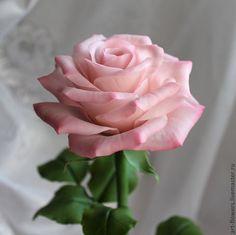 Розовая роза (холодный фарфор). Автор - Елена Щеглова