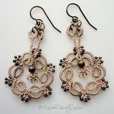 Kinetic Tatted Earrings pattern on Craftsy, design by Yarnplayer, Marilee Rockley