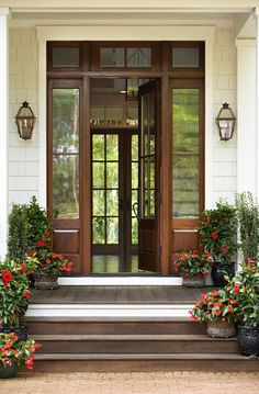 Mahogany front door - similar to mine -  mine doesn't have the transom window - only the sidelights.