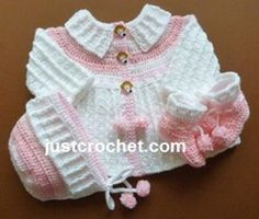 fjc101-Coat, bonnet, booties baby crochet pattern