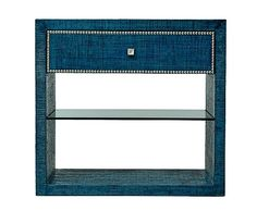 Curate Home Furnishings Product Item Details blue nightstand raffia side table #colorfurniture
