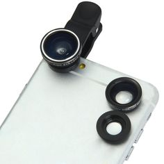 3 In 1-180°Fisheye Lens + 0.65X Wide Angle Lens+ Clip-on Lens+10X Macro Lens for iPhone,Sumsung Galaxy,iPad Nokia Motorola LG Sony HTC Notebook. Macro lens can take clear photos of small objects. 0.65X wide-angle lens can shoot larger range of scenery. 180 degrees of the scene can be captured by fisheye lens, which can let you enjoy the unreal world. The lens are made with high quality lanthanide glass, have better sharpness and more extensive shooting angle. Nano high penetrability, low...