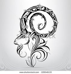 Find Goat Head Ornament stock images in HD and millions of other royalty-free stock photos, illustrations and vectors in the Shutterstock collection. Thousands of new, high-quality pictures added every day. Capricorn Mermaid Tattoo, Capricorn Art, Head Tattoos, Time Tattoos, Tribal Tattoos, Tattoos For Kids, Small Tattoos, Tattoos For Women, Engel Tattoo