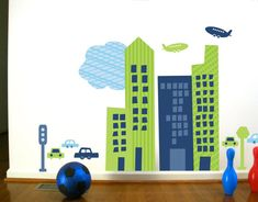 Wall Decals Wall Stickers for Kids CityScape Boys by UrbanTickle, $94.00