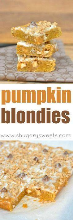 Chewy Pumpkin Blondi Chewy Pumpkin Blondies with White...  Chewy Pumpkin Blondi Chewy Pumpkin Blondies with White Chocolate Toffee Bits and Pumpkin Spice Hershey Kisses. Recipe : http://ift.tt/1hGiZgA And @ItsNutella  http://ift.tt/2v8iUYW