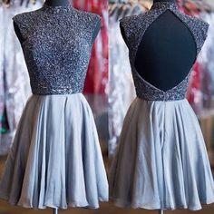 Grey beads sparkly high neck open back vintage elegant homecoming prom dress,BD0034