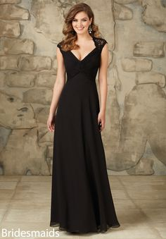 """Bridesmaids Dress 102 Lace and Chiffon I really like the back of this one. It comes in """"eggplant""""."""
