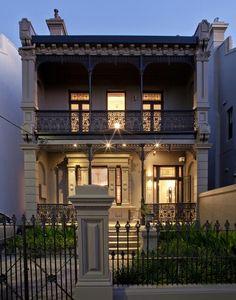 Exquisite wrought iron balcony railing with decorative ornaments house design Iron Balcony, Balcony Railing, Victorian Terrace, Victorian Homes, Bungalows, Style At Home, Balustrade Balcon, Diy Design, Design Ideas