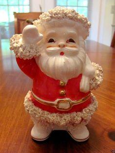 VINTAGE NAPCO JAPAN CHRISTMAS SANTA W/SPAGHETTI TRIM BAG OF TOYS PLANTER EUC