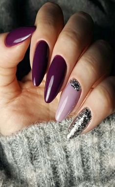 Trendy Manicure Ideas In Fall Nail Colors;Purple Nails; Fall Gel Nails, Dark Nails, Winter Nails, Fun Nails, Fall Manicure, Nail Color Trends, Fall Nail Colors, Almond Nail Art, Almond Nails
