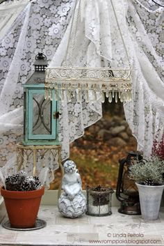 Autumn, october, romantic, greenhouse, lace curtains