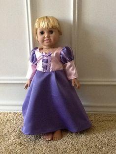 Rapunzel dress for 18 inch doll by Ladybugcuddles on Etsy