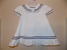 Vintage Baby Girls SYLVIA WHITE Pleated White Navy Sailor Dress Sz 6 months by LivingBliss247 on Etsy