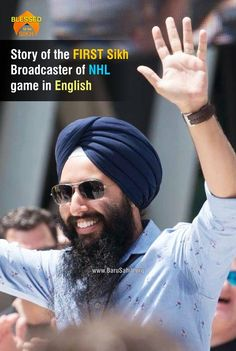 #BlessedtobeSikh  Story of the FIRST Sikh Broadcaster of NHL game in English  It was snowing when Harnarayan Singh's father arrived in Canada in 1966. It was June.  Santokh Singh was from India. He'd never seen snow. He and his wife were willing to put up with cold weather for what they thought would be a better life.  Read More http://barusahib.org/…/story-of-the-first-sikh-broadcaster…/  Share & Spread! Image may contain: 1 person, beard and text