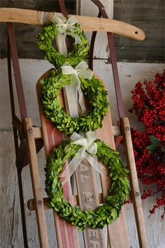 Preserved Boxwood Round Wreath - Set of three Christmas Love, Country Christmas, Outdoor Christmas, All Things Christmas, Christmas Holidays, Christmas Wreaths, Christmas Crafts, Christmas Decorations, Christmas Ideas