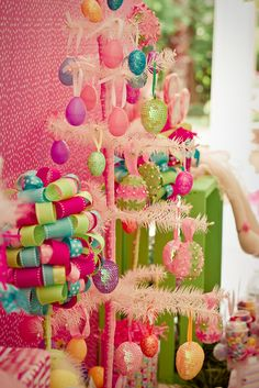 Love the ribbon topiary and must get a pastel xmas tree on clearance after xmas this year