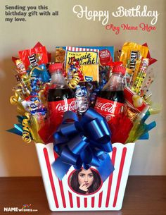 Personalized Chocolates Basket Birthday Gift For Friends. Send this chocolate basket birthday gift to your friend with his/her name and photo. Make this popcorn style birthday gift now and wish someone you love. Homemade Gift Baskets, Candy Gift Baskets, Diy Gift Baskets, Raffle Baskets, Christmas Gift Baskets, Candy Gifts, Homemade Gifts, Gift Basket Ideas, Diy Christmas