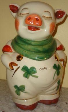 Shawnee Gold trim Smiley pig cookie jar $295.00/ www.jazzejunque.com