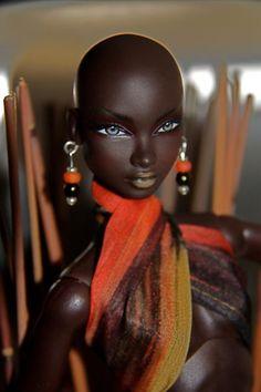Stunning bald black doll- She's back
