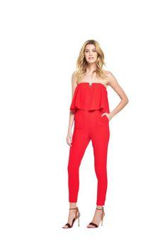 6ca9834eef9 V By Very Bardot Slim Leg Jumpsuit Red Size UK 16 rrp 75.00 SA172 JJ 09