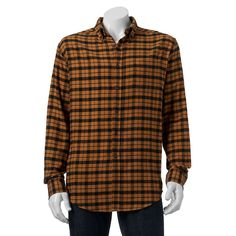 Big & Tall Croft & Barrow® Classic-Fit Plaid Flannel Button-Down Shirt, Men's, Size: L Tall, Gold