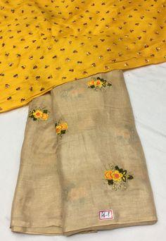 Soft Jute Thread work embroidery sarees Indian Saris Click VISIT above for more options Jute Sarees, Jute Silk Saree, Chiffon Saree, Saree Dress, Cotton Saree, Crepe Saree, Sari Blouse, Long Blouse, Simple Sarees